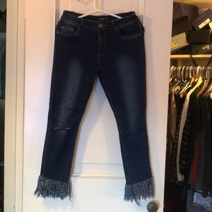 Boohoo Jeans with skits and fringe hem